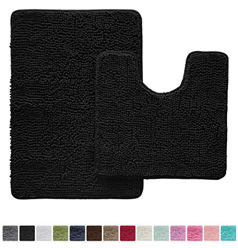 Gorilla Grip Original Shaggy Chenille Bathroom 2 Piece Rug Set Includes Mat Contoured for Toilet and 30x20 Carpet Rugs, Machine Wash/Dry, Perfect Plush Sets for Tub, Shower, Bath Room (Black)