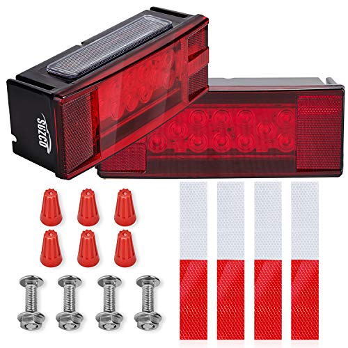 """SUZCO 8"""" Marine Boat Led Trailer Tail Lights Kit Submersible 12V, 24-LEDs Low Profile Sealed Universal Assembly Waterproof Over 80"""" Travel Light Set for Auto RV Truck Camper Snowmobile Rollers"""