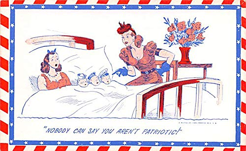 Military Comic Postcard, Old Vintage Antique Post Card Patriotic Unused