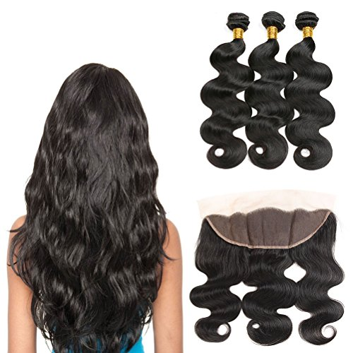 - Artemis Hair 8A Brazilian Virgin Hair 3 Bundles with Closure Body Wave 100% Unprocessed Human Hair Weave With Lace Closure Natural Color Remy Hair Extension (14 16 18with12, Bundles with Frontal)