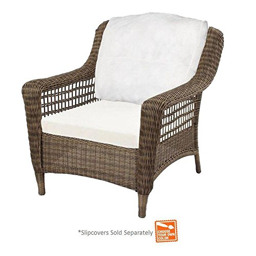 Hampton Bay 55-20301 Spring Haven Grey Wicker Patio Chair W/Cushion Insert (Chairs Bay Resin Hampton Wicker)