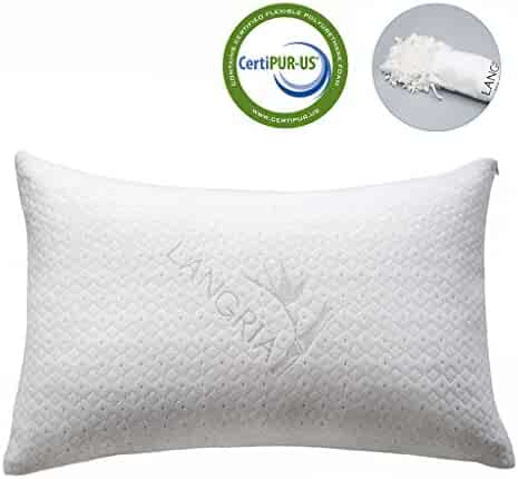 LANGRIA Luxury Bamboo Shredded Memory Foam Pillow with Zip Cover and Adjustable Viscoelastic Sleeping Pillow CertiPUR-US Approved Foam Filling Breathable Hypoallergenic Odor-Free Washable, Queen