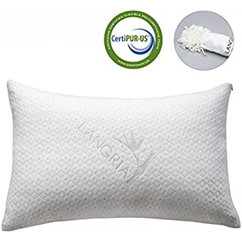 DR. FOAM Premium Shredded Memory Foam Pillow with Machine Washable Rayon Pillow Case Derived from Bamboo for Better Sleep and Neck Support – King