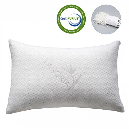LANGRIA Luxury Bamboo Shredded Memory Foam Pillow with Zip Cover and Adjustable Viscoelastic Sleeping Pillow CertiPUR-US Approved Foam Filling Breathable Hypoallergenic Odor-Free Washable, Queen (Pillow Coconut)