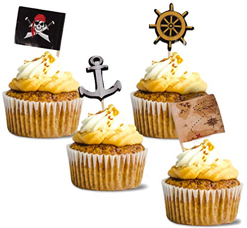 Pirate Cupcake Toppers - 200-Pack Cupcake Decoration, Pirate Themed Party Supplies, Pirate Flag Toothpicks, Treasure Map, Anchor, Ship Wheel Cake Picks, 1.2 x 3 Inches