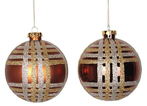 - Vickerman 4ct Copper w/ Champagne Gold & Silver Glitter Plaid Shatterproof Christmas Ball Ornaments 4
