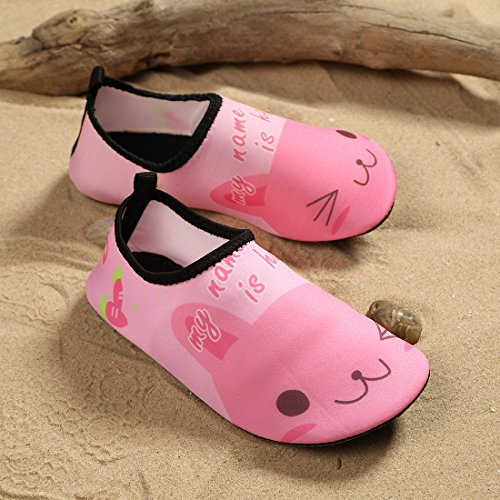 Laiwodun Kleinkind Schuhe Schwimmen Wasser Schuhe Mädchen Barefoot Aqua Schuhe für Beach Pool Surfen Yoga Unisex Pink