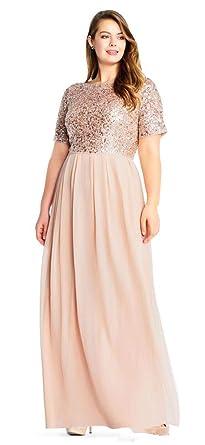 CLOVERDRESS Rose Gold Bridesmaid Dress Sequins Plus Size ...