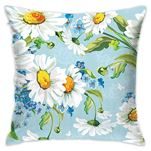 Hand Painted White Daisy Flowers Throw Pillow Covers Square Pillowcase Cushion Covers Decor Pillowcases 18X 18 Inch Square Hidden Zipper Home Cushion Decorative Pillowcases for Sofa Bed Car