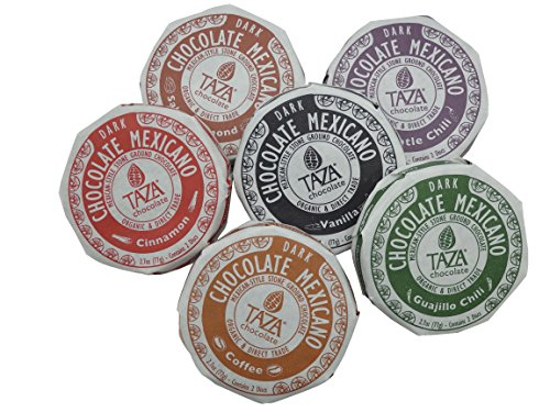 Coffee Millstone Hazelnut (6 Taza Chocolate Mexicano Discs Variety Pack Gift Pack Salted Almond, Coffee, Cinnamon, Vanilla, Chipotle and Guajillo Chili Dark Chocolate Discs - Made in Boston)