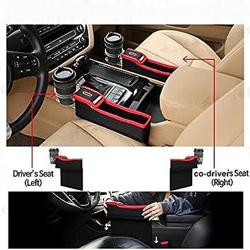 Leather Car Seat Side Organizer Storage Gap Filler Catcher Cup Holder Organizer Black /& Red