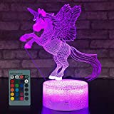 little boy room ideas Unicorn Lamp Unicorn 3D Night Light for Kids,16 Color Change with Remote Control LED Kids Nightlights Bedside Lamp, Kids Room Decor Light as a Gift Ideas or Boys and Girls Birthday Gift