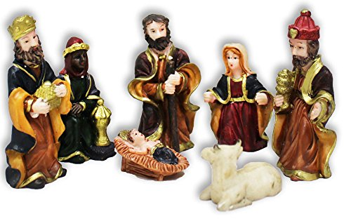 7 Piece Nativity Characters Set In Miniature Size Made Of Polymer Clay Clay Nativity Set