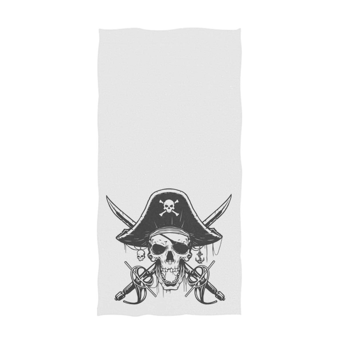 16 x 30,White Naanle Cool Pirate Skull Pattern Soft Large Hand Towels Multipurpose for Bathroom Gym and Spa Hotel