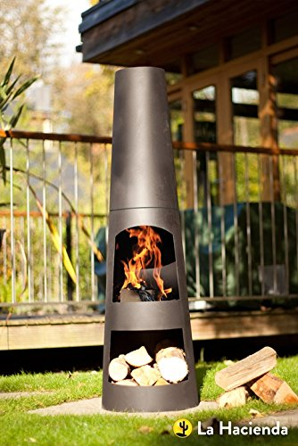 La Hacienda Circo 125cm Black Steel Chimenea Chiminea Patio Heater