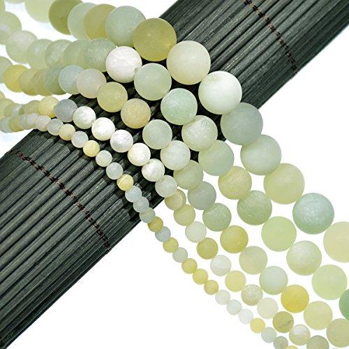 AD Beads Beautiful Natural Matte Gemstone Round Spacer Loose Beads 4 - 12mm (4mm, 22 Matte New Mountain Jade) (Mountain Jade Beads)
