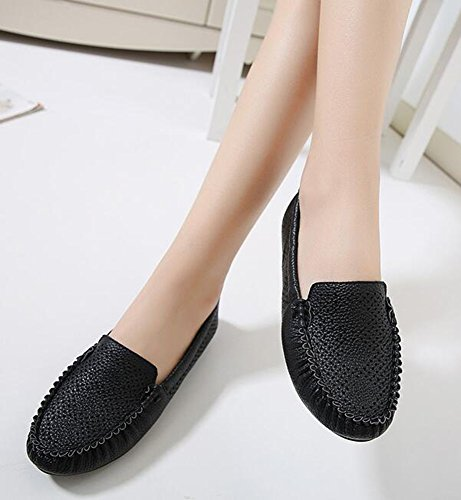 IDIFU Womens Comfy Perforated Soft Bottom Flats Round Toe Low Top Slip On Loafers Shoes Black mFWnlSrnb