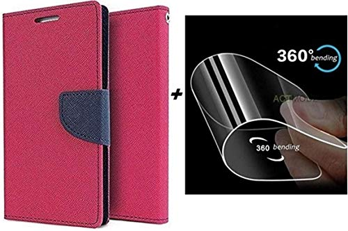 Zelq Silicone Wallet Flip Cover with Unbreakable Glass for Lenovo Vibe K5 Note  Pink