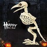 Wanrane Bird Skeleton Halloween Decoration,Halloween Bone Skeleton Raven Plastic Animal Skeleton Horror Decoration Prop Bird Crow Skeleton