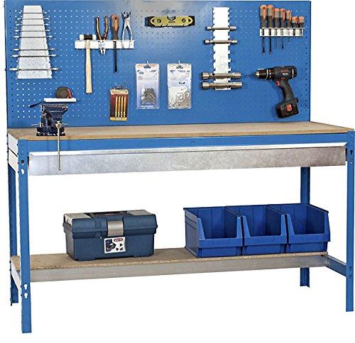 Werkbank aus Holz und Metall, mit Werkzeug-Halterung und Schublade, 1440 x 1200 x 600 mm, 2 Stufen, 600 kg