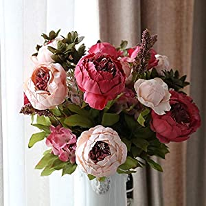HATABO Vine Garland Faked Flowers Garland 13 Branch Artificial Flowers Peony Vivid Flores artificiales Fake Silk Rose Flowers Bridal DIY Wreath Garland Wedding Decor Home (Random) 47