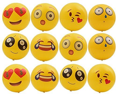 "Emoji Inflatable Beach Ball(12-Pack), 8"" Beach Balls for Kids Summer Beach Balls Party Pool Game Ball"