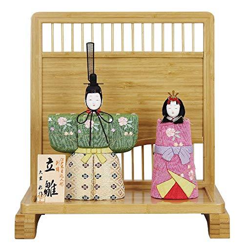 雛人形 大里彩 木目込 立雛 親王飾り 衝立飾り 竹製 幅33cm [fz-303] ひな人形   B07K84JWH1