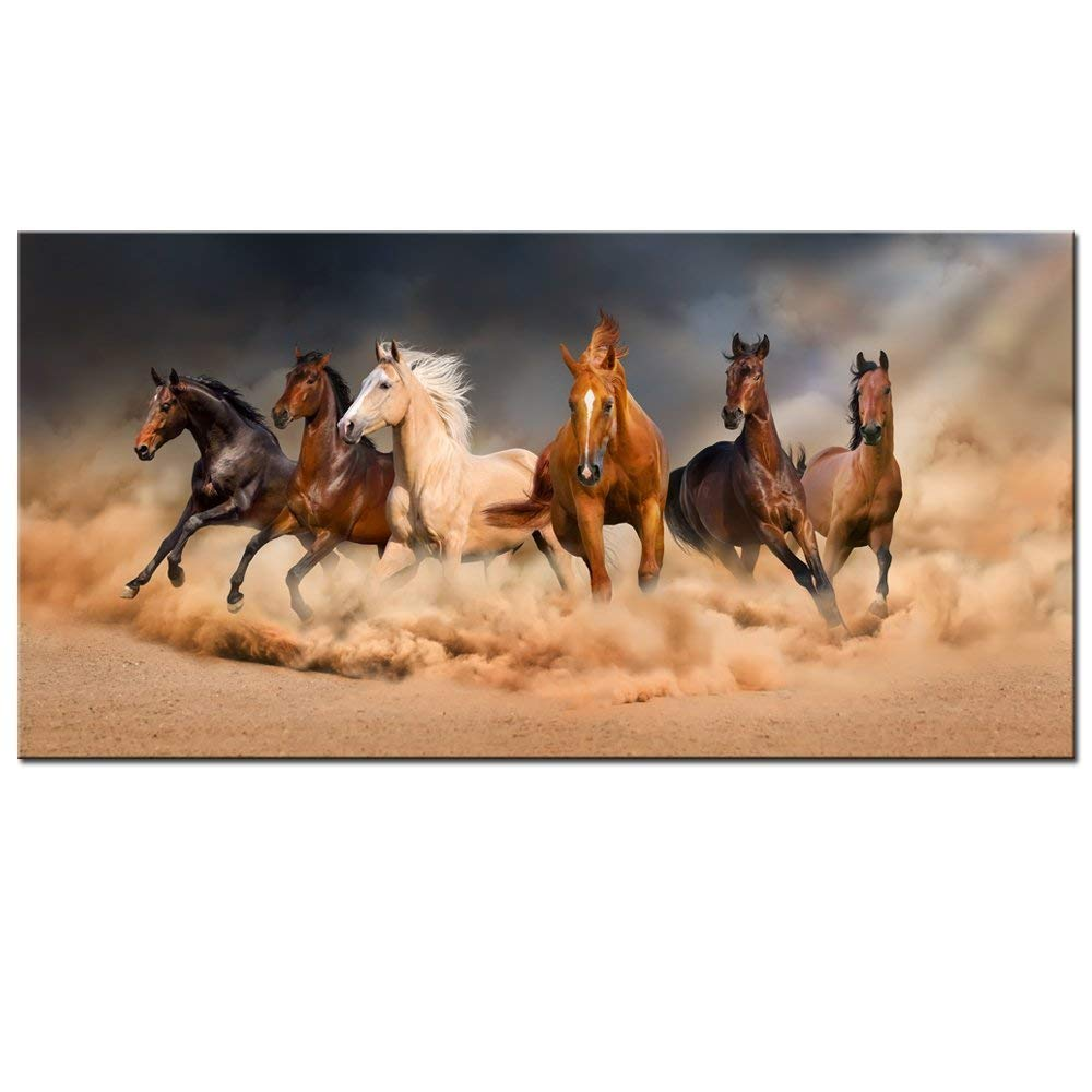 """LevvArts - Large Size Running Horse Canvas Wall Art,Wild Animal Picture Print on Canvas,Framed Gallery Wrapped,Modern Home and Office Decoration,-24""""x48"""""""