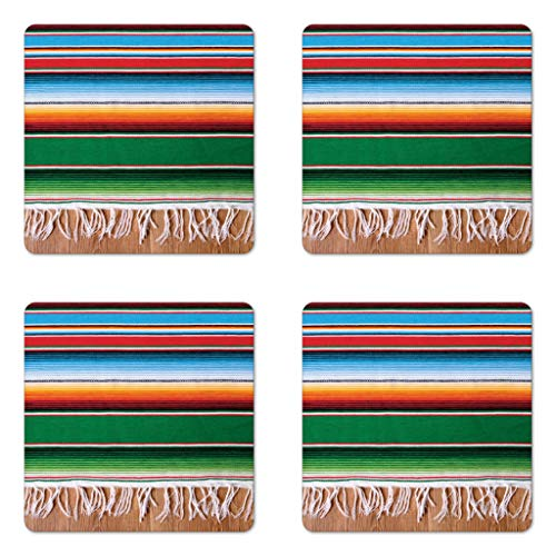 (Lunarable Mexican Coaster Set of Four, Boho Serape Blanket with Horizontal Stripes and Lines Authentic Cultures Picture, Square Hardboard Gloss Coasters for Drinks, Multicolor)