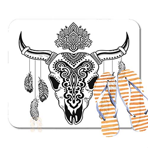 Bathroom Rugs for Bath Mat Longhorn Tribal Animal Skull Ethnic Ornaments Mexican Tattoo Western Buffalo, Non Slip Bath Rug Velvet Foam Bathroom mat for Shower Floors 15.7X23.6Inch 2F4560