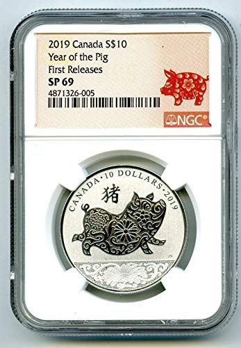 2019 CA Canada Silver YEAR OF THE PIG First Releases Rare 1/2 Oz $10 SP69 NGC