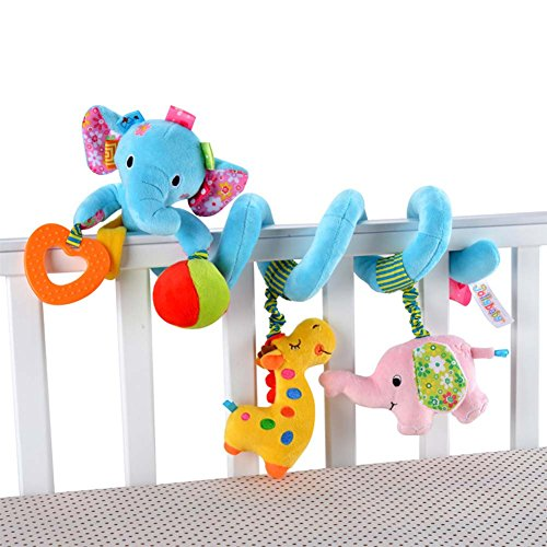 Singring Baby Pram Crib Cute Blue Elephant Design Activity