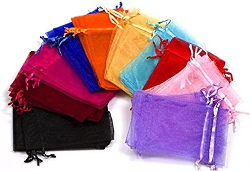 EDENKISS Mixed Color Drawstring Organza Jewelry Pouch Bags 2.8x3.6
