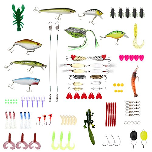 WIILII 106pcs Fishing Lure Bait Kits, Rubber Worms, Frog, Hooks, Jigs and Tackle Box Fishing Tackle Set for Freshwater Saltwater Trout, Bass, Salmon