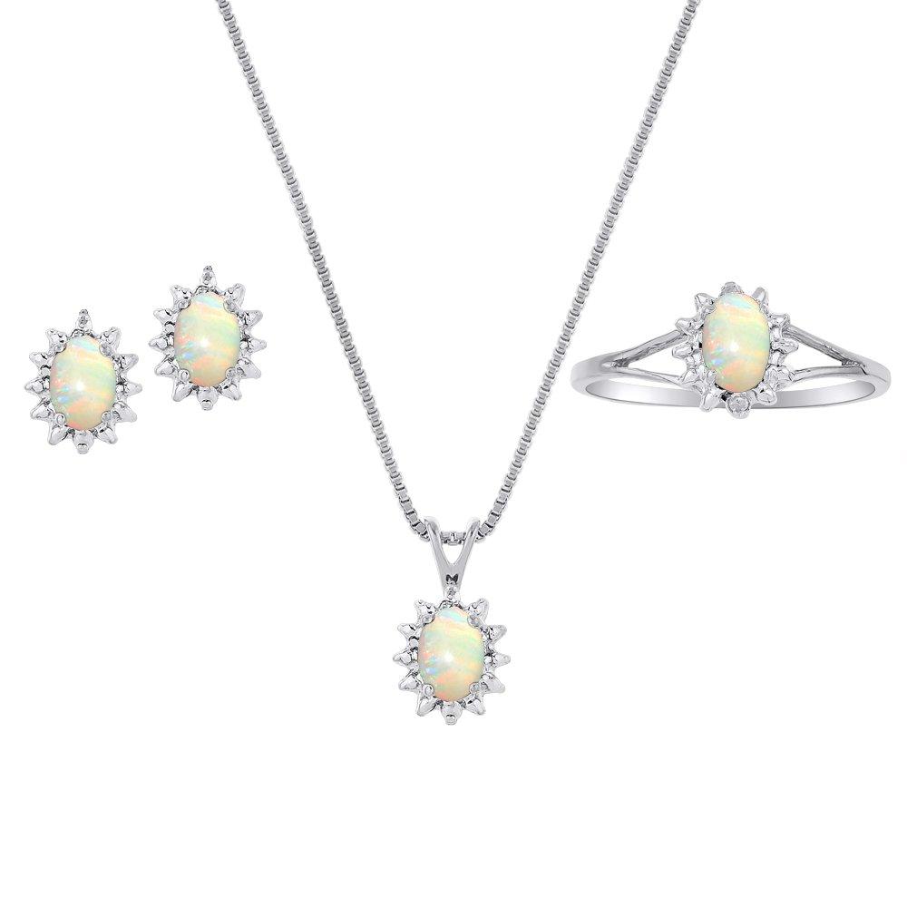 天然石オパール&ダイヤモンドペンダント、イヤリング&リングセットinスターリングシルバー。925、チェーンとギフトボックス B079162GSN