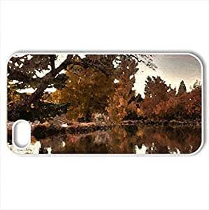 When the crowd goes... - Case Cover for iPhone 4 and 4s (Lakes Series, Watercolor style, White)