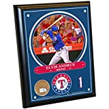 "MLB Texas Rangers Elvus Andrews Plaque with Game Used Dirt from Globe Life Park in Arlington, 8"" x 10"", Navy"
