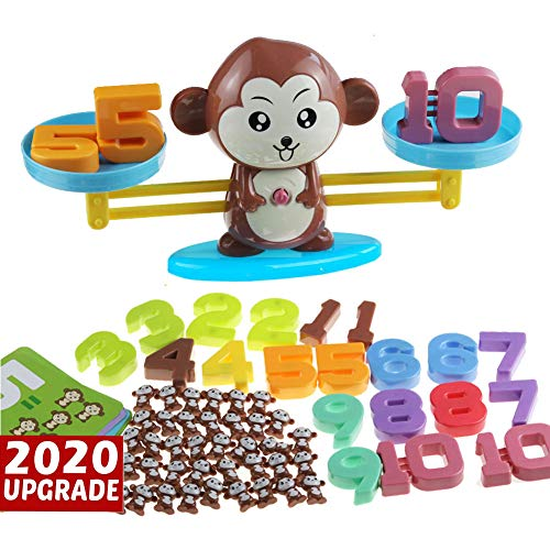 Monkey Balance Cool Math Game STEM Montessori Preschool Learning Counting Toys for 3 4 5 Year olds First Grade Children Kids Kindergarten Board Game (Upgraded,Common Package Box )