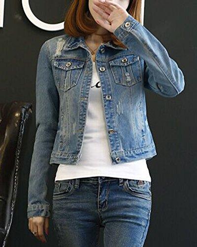 Oversize Donna Corto Slim Come Immagine Manica Di Lunga Giubbotto Denim Giacca Jeans 1Rx7SRq