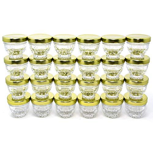 Small Mini Glass Jars With Tin Lids - 24 pack x 1.75 oz - All Purpose Empty Storage Jars