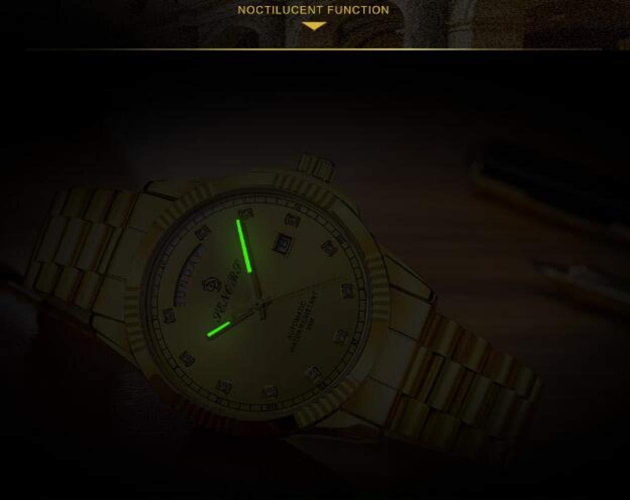 HAONB Herrklockor klassisk dubbel kalender automatisk mekanisk klocka trend affärsklocka Gold Belt White Surface
