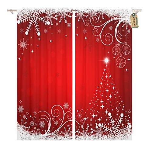(Golee Window Curtain Merry Christmas Holiday Beautiful Snowflake Winter Decorated Golden Greeting Home Decor Rod Pocket Drapes 2 Panels Curtain 104 x 84)
