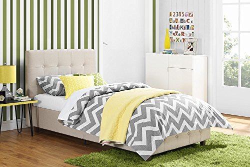 DHP Rose Linen Tufted Upholstered Platform Bed, Button Tufted Headboard and Footboard with Wooden Slats, Twin Size - (Headboard Footboard Platform Rails)