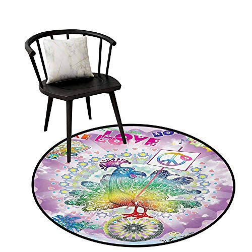 Circular Non-Slip Mat Printed Hippie,Funny Peacock with Make Love Not War Quote Hippie Flower Children Peace Theme,Artwork Print Anti-Skid Area Rug 28