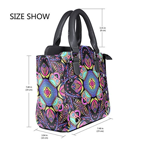 Top TIZORAX Bags Floral Psychedelic Hippie Handbags Handle Shoulder Women's Leather PU Ethnic PwZP8r