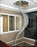7PM W31.5' X H96' Staircase Moon Shaped Wave and Spiral Clear K9 Crystal Chandelier