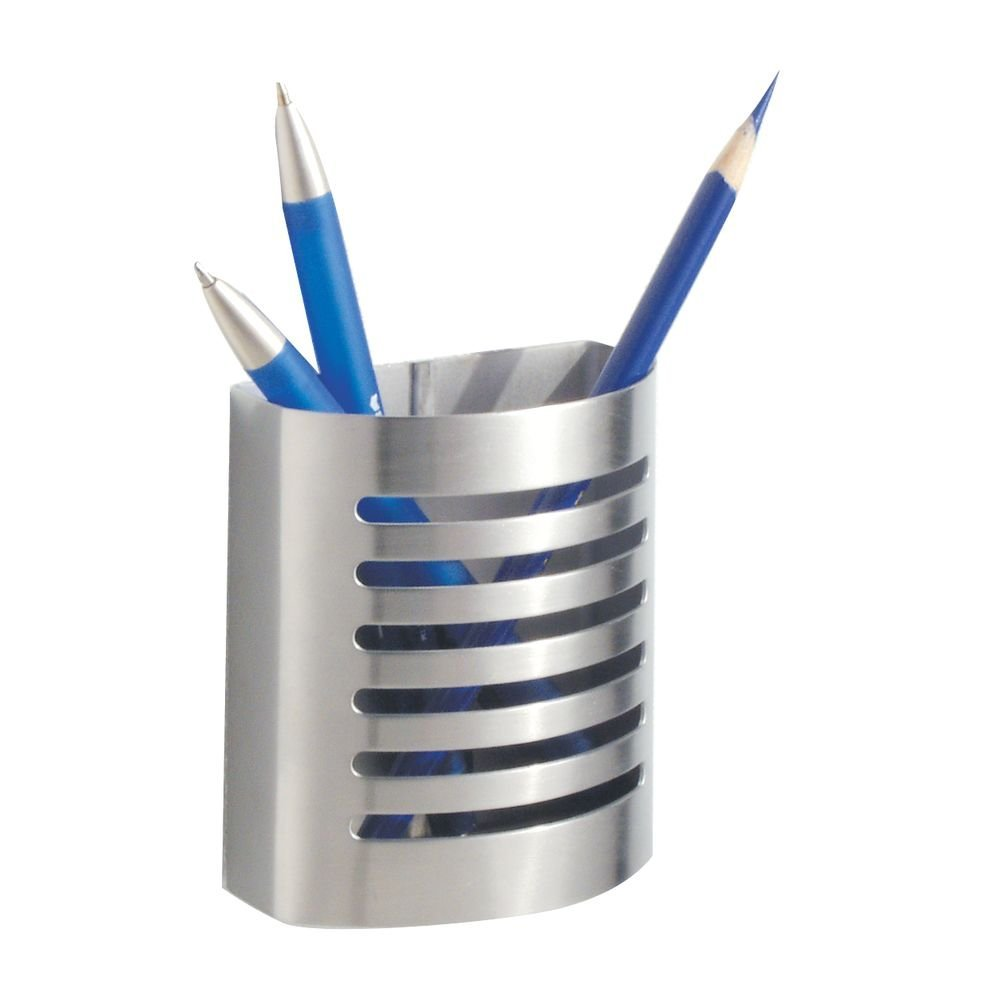 Magnetic Modern Pen and Pencil Holder, Metal Writing Utensil Storage Organizer for Kitchen, Locker, Home, or Office