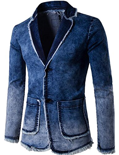Lapel Single Breasted Denim - Oberora-Men Casual Lapel Single Breasted Washed Denim Jacket Blazer Coat Outerwear Blue XL