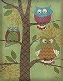 Fantasy Owls Vertical I Trendy Popular Retro Fun Tree Bird Beautiful Owl Bed Room Painting 11X14