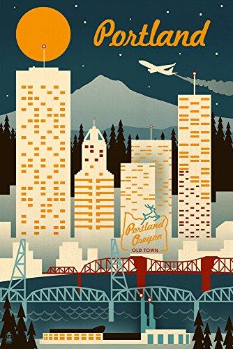 Portland, Oregon - Retro Skyline (9x12 Art Print, Wall Decor Travel Poster)